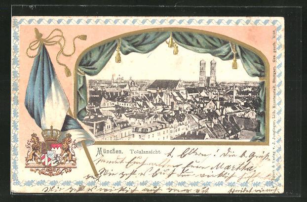 Passepartout-Lithographie München, Blick über die Stadt, Wappen
