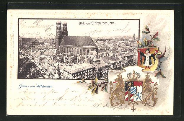 Passepartout-Lithographie München, Blick vom St. Petersturm, Wappen