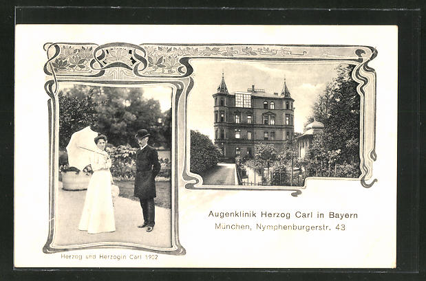 Passepartout-AK München, Nymphenburgerstr. 43, Augenklinik Herzog Carl in Bayern, Herzog & Herzogin Carl um 1902