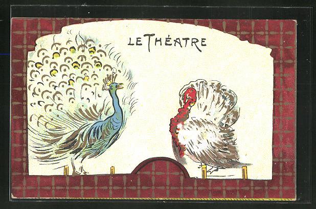 Lithographie Le Théatre, Truthahn und Pfau