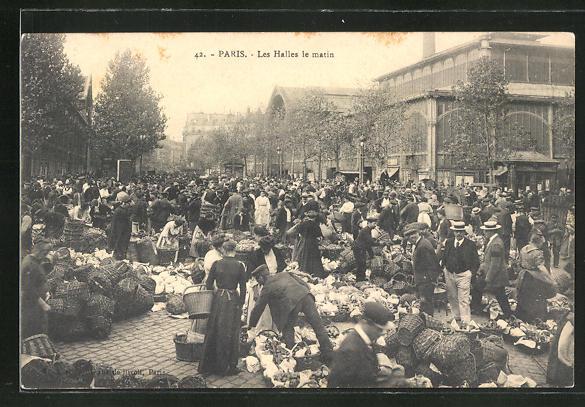 AK Paris, les Halles le matin, Marktszene