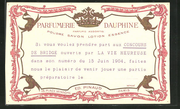 Präge-AK Paris, Ed. Pinaud, Parfumerie Dauphine, 18 Place Vendôme