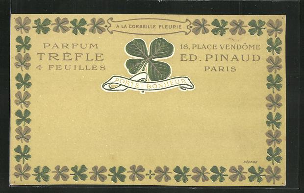 Präge-AK Paris, Ed. Pinaud, Parfum Tréfle, 18 Place Vendôme