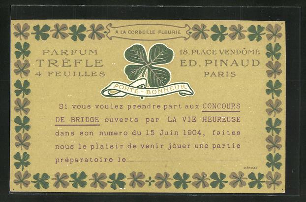 Präge-AK Paris, Ed. Pinaud, Parfum Tréfle, 18 Place Vendôme, Porte-Bonheur, Kleeblatt