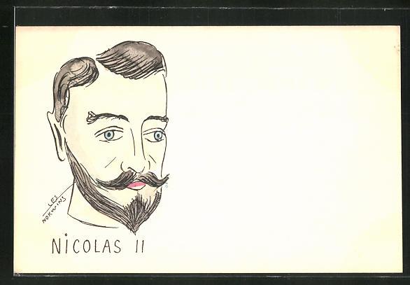 Künstler-AK sign. Les Norwins: Portrait von Zar Nikolaus II. von Russland