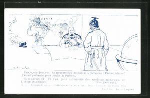 AK Kaiser Franz Josef I. von Österreich im Gespräch mit Kaiser Wilhelm II.