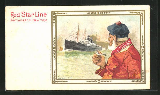 Künstler-AK Henri Cassiers: Matrose schaut einem Passagierschiff entgegen