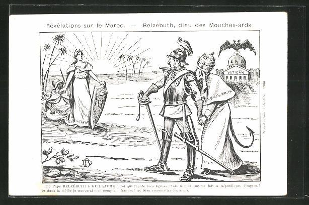 AK Kaiser Wilhelm II. rettet Papst Belzébuth, Révélations sur le Maroc, Marokko Krise
