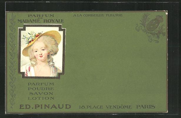 Präge-AK Paris, Reklame für Parfum de Madame Royale Ed. Pinaud, 18 Place Vendôme