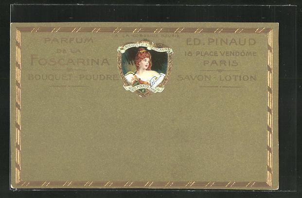 Präge-AK Paris, Reklame für Parfum de Foscarina, A la Corbeille Fleurie, Ed. Pinaud, 18 Place Vendôme