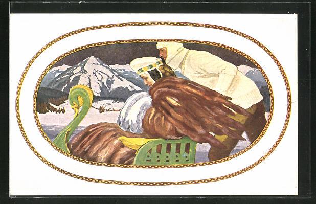 Künstler-AK sign. Ad. Münzer: G. Hirth's Verlag, Serie: IV, Im Winterdress, Frau mit Pelzmuff im Schlitten