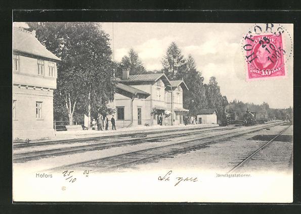 AK Hofors, Järnvägsstationen, Partie im Bahnhof