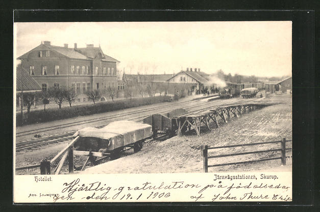 AK Skurup, Järnvägsstation, Hotel und Bahnhof