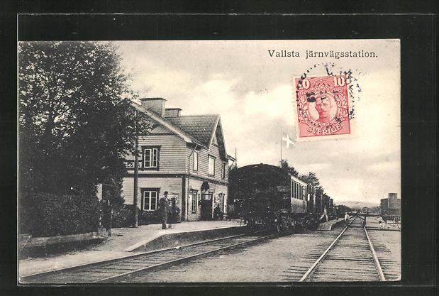 AK Vallsta, Järnvägsstation, Partie am Bahnhof