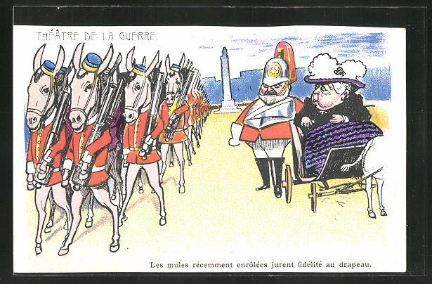 AK Theatre De La Guerre, Burenkrieg, Königin Victoria von England, englische Soldaten als Esel
