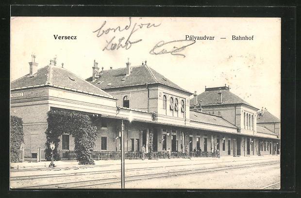 AK Versecz, Palyaudvar, Partie am Bahnhof