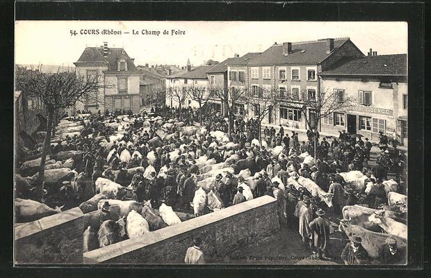 AK Cours, Le Champ De Foire, rückseitig Reklame Photo-Populaire, Rene Lauxerois-Monnier, Fotoapparat