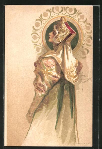 Künstler-AK S. Solomko: Frau im Kleid mit Haube