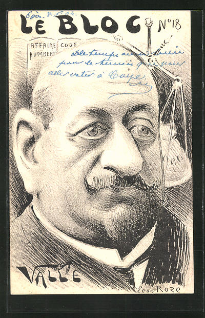 Künstler-AK sign. Leon Roze: Le Bloc, Valle, Affaire Humbert, Karikatur