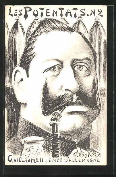 Künstler-AK sign. Leon Roze: Les Potents, Guillaume, Karikatur von Kaiser Wilhelm II.