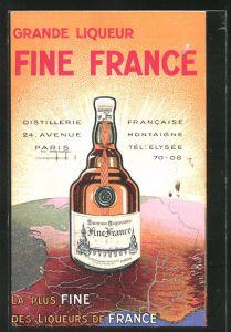 AK Paris, Distillerie Francaise, 24 Avenue Montaigne, Grande Liqueur Fine France, Reklame