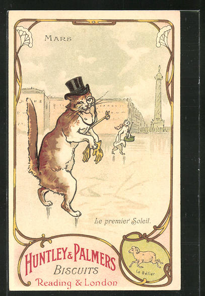 AK Huntley & Palmers Biscuits, Reading & London, Mars, Le premier Soleil, Kater als Gentleman, Keksreklame