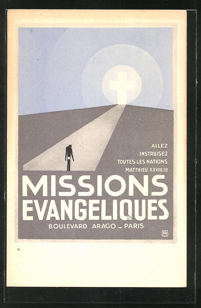 AK Missions Evangeliques, Paris Boulevard Arago, strahlendes Kreuz