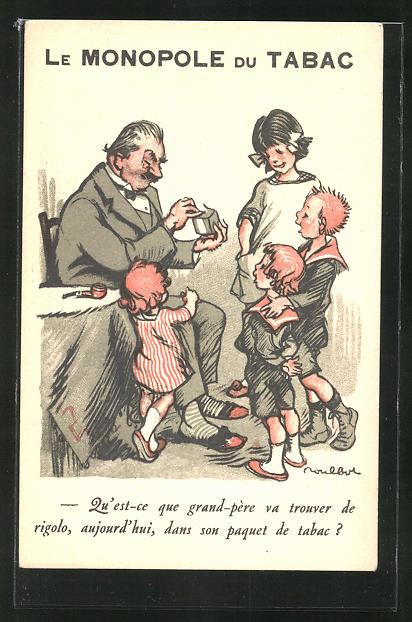 Künstler-AK Francisque Poulbot: Le Monopole Du Tabac, Vater packt seinen Tabak aus