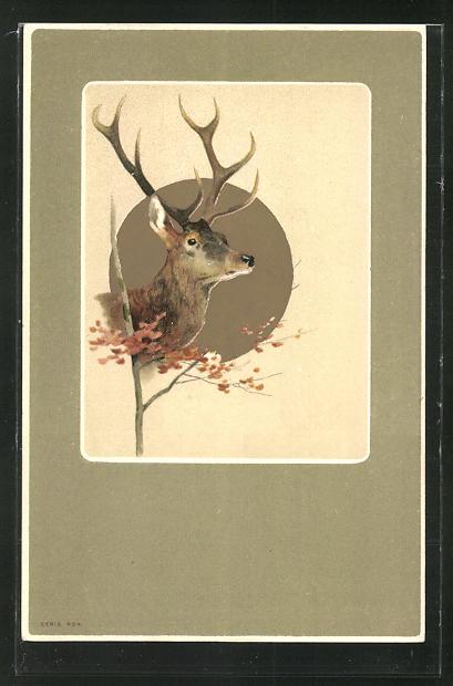 Lithographie Hirschkopf vor goldenem Grund