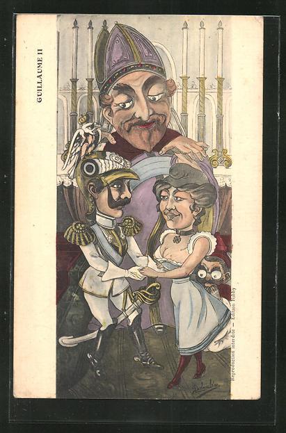 Künstler-AK sign. Babouléne: Guillaume II, Karikatur Kaiser Wilhelm II.
