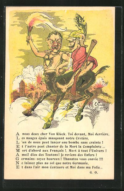 Künstler-AK sign. E. Causé: Allemagne, Kaiser Wilhelm II. reitet wütenden Zentaur, Karikatur