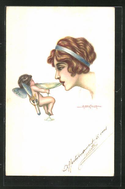 Künstler-AK A. Bertiglia: kleine Fee hält einer Frau das Sektglas an den Mund