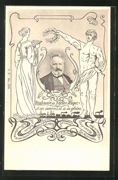 AK Centenaire de Victor Hugo, Portrait von Victor Hugo mit Statuen im Jugendstil