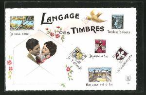 AK Langage des Timbres, Je vous aime, Je t'attends, Je pense à toi, Liebespaar in einem Brief, Briefmarkensprache