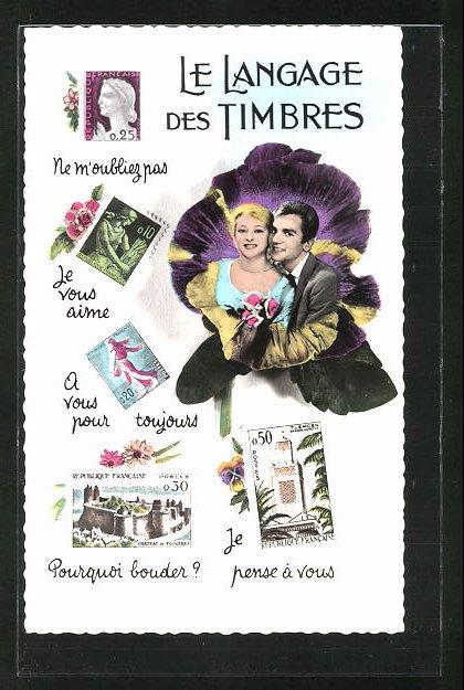 AK Le Langage de Timbres, Liebespaar in einer Blume, Ne M'oubliez pas, Je vous aime, Je pense à vous, Briefmarkensprache