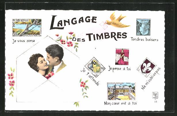 AK Le Langage de Timbres, Liebespaar in einem Brief, Je vous aime, Je t'attends, Tendres baisers, Je pense à toi