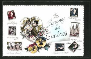 AK Langage des Timbres, Paar in einem Herz, A vous pour toujours, Je vous attends!, Mille bons baisers, Briefmarken