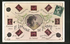 AK Langage des Timbres, Frau in einem Herz, Ne m'oubliez pas, M'aimez vous, A toi mon coeur, Un baiser, Briefmarken