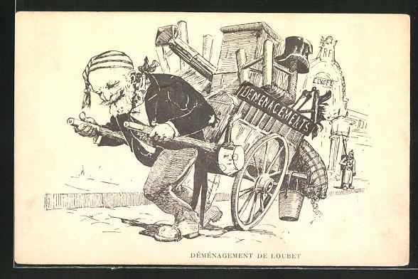 AK Démenagement de Loubet, Präsident Loubet zieht sein Hab und Gut auf einem Karren, Karikatur