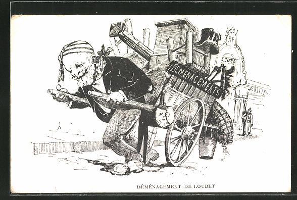 AK Déménagement de Loubet, Präsident Loubet zieht einen Umzugswagen, Karikatur