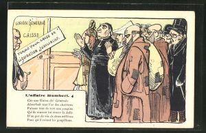Künstler-AK sign. Vignola: L'affaire Humbert, No. 4, Männer und Frauen vor dem Saal