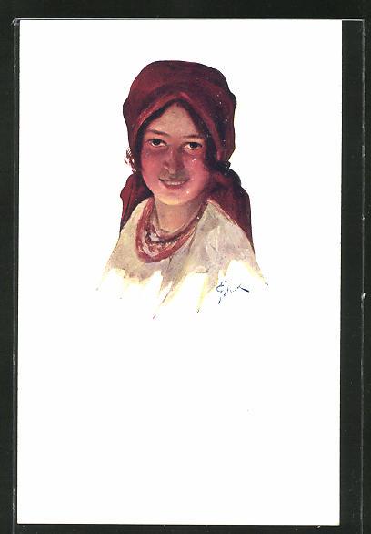 Künstler-AK sign. J. Pstrak: Schöne Galizische Frau mit Kopftuch