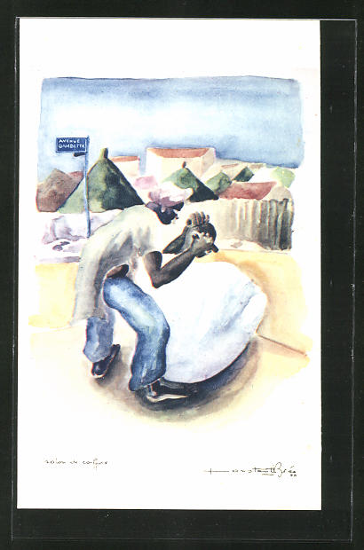 Künstler-AK sign. Brée: Salon de Coiffure, Afrikaner lässt sich Frisieren