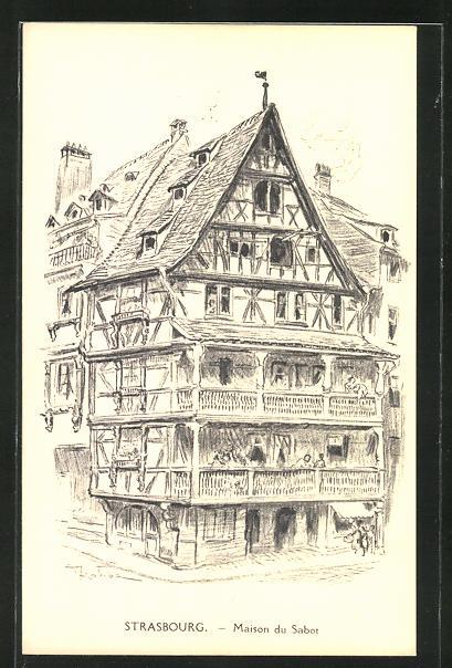 Künstler-AK Albert Robida: Strasbourg, Maison du Sabot