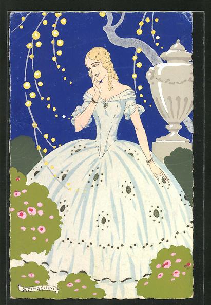 Künstler-AK sign. G. Meschini: Dame im Abendkleid in einem nächtlichen Garten, Art Deco