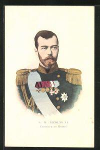 AK Zar Nikolaus II. von Russland mit Orden und Uniform