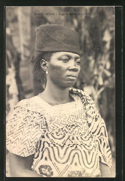 AK Congo Belge, Type de femme Baluba, afrikanische Volkstypen