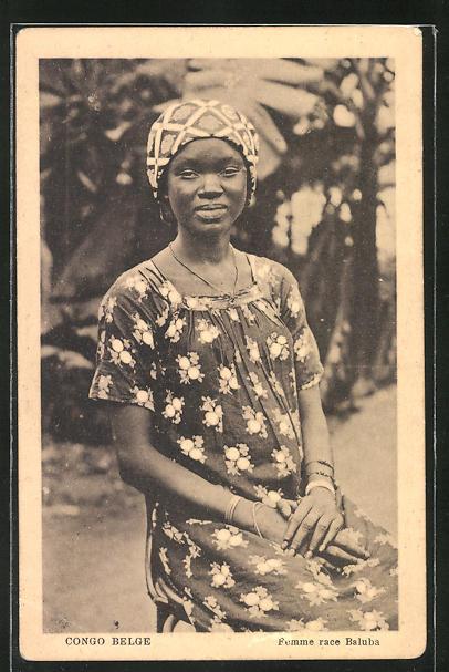 AK Congo Belge, Femme race Baluba, afrikanische Volkstypen