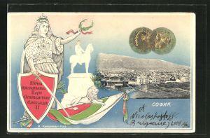 Präge-AK Sofia, Ortsansicht aus der Vogelschau mit Frau mit Schwert, Schild und Fahne, Politiker in einer Münze