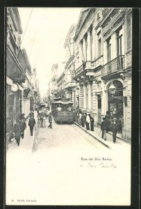 AK Sao Paulo, Rua de Sao Bento mit Strassenbahn